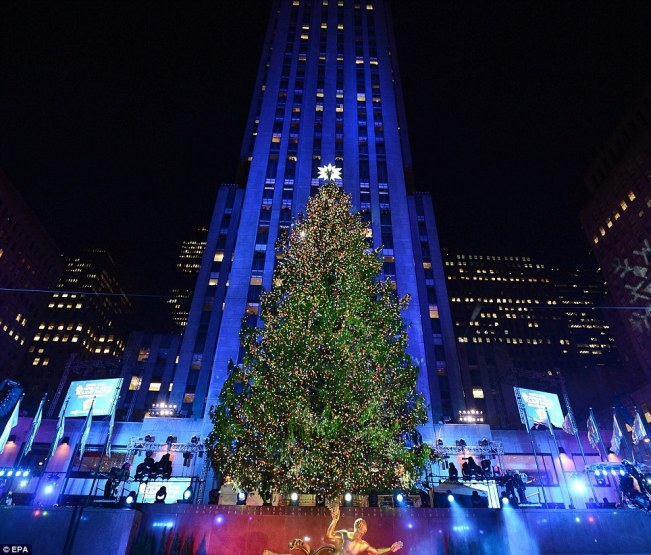 The world famous Christmas tree at 75 Rockefeller Plaza